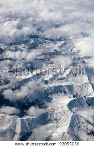 Russia, Far East, the Kamchatka peninsula, view of the mountains from the window of the airplane