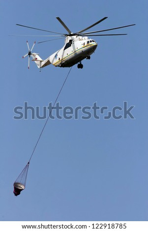 Russia, firefighter MI-8 helicopter in the sky - stock photo