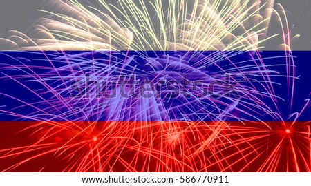 Russia flag against fireworks
