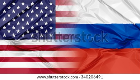 Russia flag and United States of America flag united in a composition about partnership and cooperation - stock photo