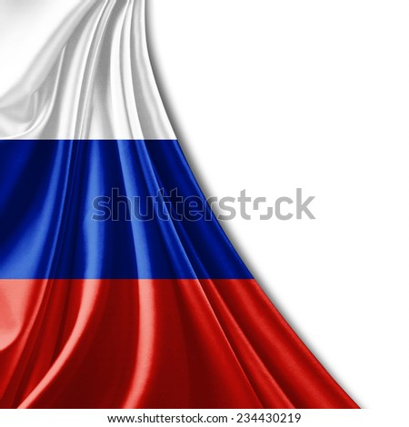 Russia flag and  white background - stock photo