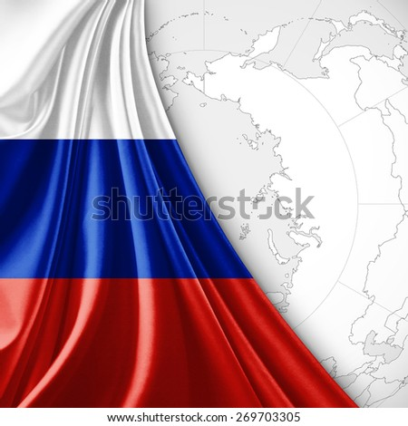 Russia flag and world map background - stock photo