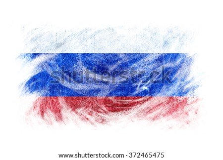 Russia flag artistic effect blackboard chalk erased. Isolated white.