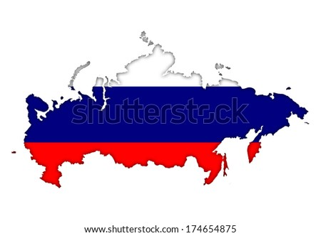 Russia flag banner plan map icon - stock photo