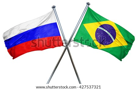 Russia flag  combined with brazil flag - stock photo