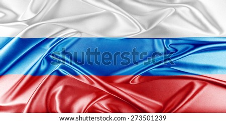 Russia Flag. Flag with a beautiful glossy silk texture. - stock photo