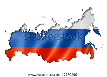Russia flag map, three dimensional render, isolated on white - stock photo