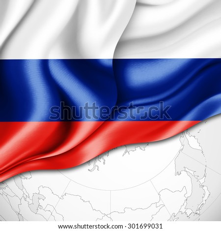 Russia  flag of silk and world map background - stock photo