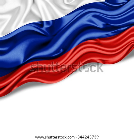 Russia  flag of silk with copyspace for your text or images and  White background - stock photo