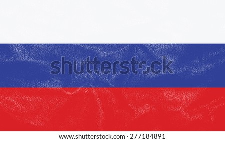 Russia flag on leather texture - world flag leather textured - stock photo