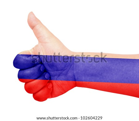 Russia flag on thumb up gesture like icon - stock photo