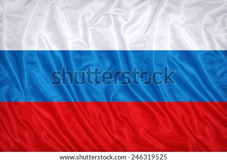 Russia flag pattern on the fabric texture ,vintage style - stock photo