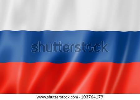 Russia flag, three dimensional render, satin texture - stock photo