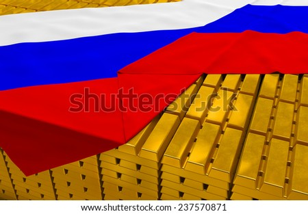 Russia gold reserve stock: golden bars (ingots) are covered with russian flag in the storage (treasury) as symbol of national gold and foreign currency reserves, financial health, economic growth - stock photo