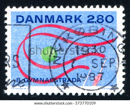 RUSSIA KALININGRAD, 3 JANUARY 2014: stamp printed by Denmark, shows Gymnaestrada Herning, circa 1987 - stock photo