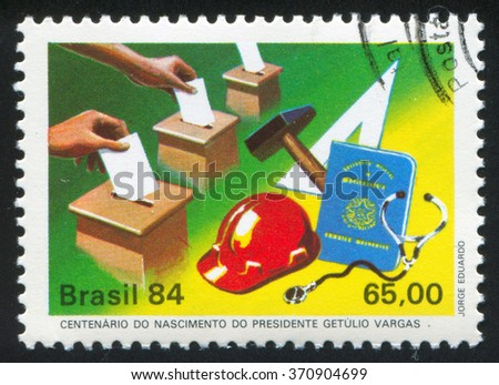 RUSSIA KALININGRAD, 26 JULY 2014: stamp printed by Brazil, shows  Voters Casting Ballots, Symbols of Labor, circa 1984 - stock photo