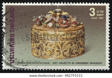RUSSIA KALININGRAD, 2 JUNE 2016: stamp printed by Thailand, shows golden lidded betel nut box, circa 2002