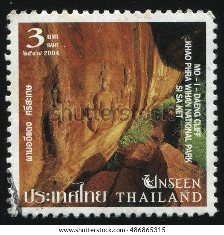 RUSSIA KALININGRAD, 4 JUNE 2016: stamp printed by Thailand, shows Mo Daeng cliff at Khao Phra Wihan National Park, Si Sa Ket, circa 2004