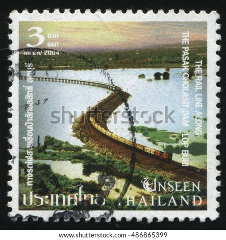 RUSSIA KALININGRAD, 4 JUNE 2016: stamp printed by Thailand, The rail line along the Pasak Cholasit Oam Lop Buri, circa 2004