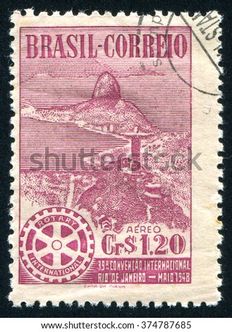 RUSSIA KALININGRAD, 13 MARCH 2015: stamp printed by Brazil, shows   jesus, circa 1948 - stock photo