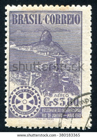 RUSSIA KALININGRAD, 13 MARCH 2014: stamp printed by Brazil, shows Jesus statue, circa 1948 - stock photo