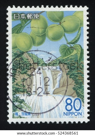 RUSSIA KALININGRAD, 18 MARCH 2016: stamp printed by Japan, shows a  waterfall and a branch with plums, circa 2013