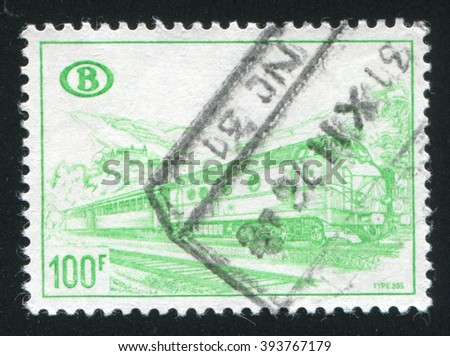 RUSSIA KALININGRAD, 20 OCTOBER 2015: A stamp printed by Belgium, shows locomotive, circa 1967
