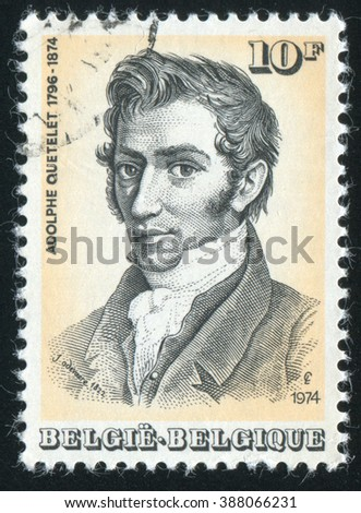 RUSSIA KALININGRAD, 19 OCTOBER 2015: stamp printed by Belgium, shows Adolphe Quetelet, circa 1974