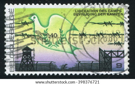 RUSSIA KALININGRAD, 20 OCTOBER 2015: stamp printed by Belgium, shows Dove liberation of concentration camps, circa 1985