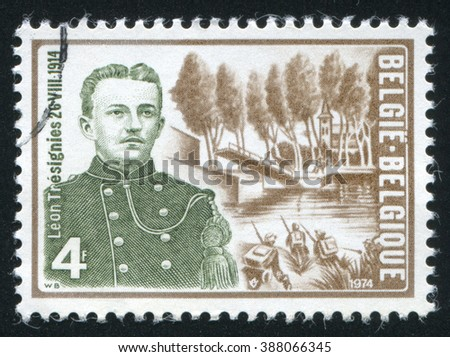 RUSSIA KALININGRAD, 19 OCTOBER 2015: stamp printed by Belgium, shows Leon Tresignies and Willebroek Canal Bridge, circa 1974 - stock photo