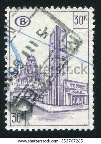 RUSSIA KALININGRAD, 20 OCTOBER 2015: stamp printed by Belgium, shows Railroad station, South Station, circa 1953 - stock photo