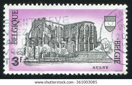 RUSSIA KALININGRAD, 26 OCTOBER 2015: stamp printed by Belgium, shows Ruins of Aulne Abbey, Gozee, circa 1969 - stock photo