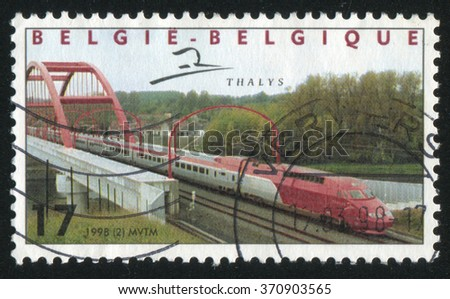 RUSSIA KALININGRAD, 19 OCTOBER 2015: stamp printed by Belgium, shows Thalys, High Speed Train, circa 1998 - stock photo