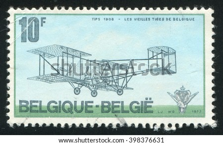 RUSSIA KALININGRAD, 20 OCTOBER 2015: stamp printed by Belgium, shows Tips biplane plane, circa 1973