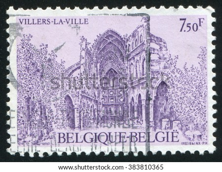 RUSSIA KALININGRAD, 19 OCTOBER 2015: stamp printed by Belgium, shows Villers-la-Ville Abbey ruins, circa 1982 - stock photo