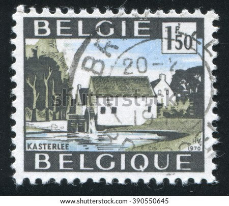 RUSSIA KALININGRAD, 20 OCTOBER 2015: stamp printed by Belgium, shows Water mill Kasterlee, circa 1970 - stock photo