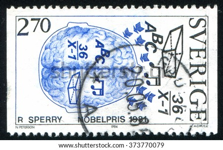 RUSSIA KALININGRAD, 20 OCTOBER 2013: stamp printed by Sweden, shows Nobel Prize Winners in Physiology or Medicine, Roger Sperry, 1981, brain functions, circa 1984 - stock photo