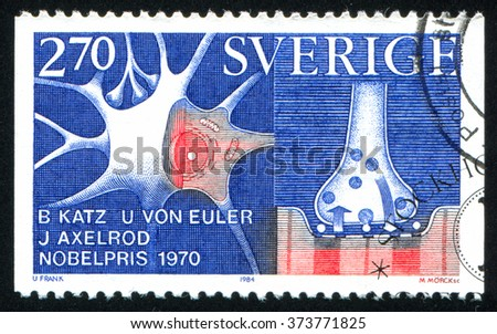 RUSSIA KALININGRAD, 20 OCTOBER 2013: stamp printed by Sweden, shows Nobel Prize Winners in Physiology or Medicine, Julius Axelrod, 1970, nerve cell storage and release, circa 1984 - stock photo