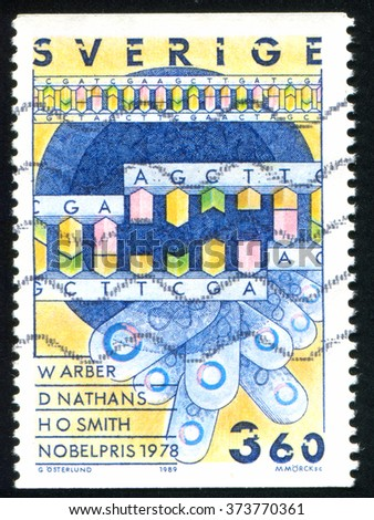 RUSSIA KALININGRAD, 21 OCTOBER 2013: stamp printed by Sweden, shows Nucleotide, circa 1989 - stock photo