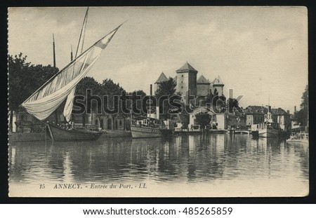 RUSSIA KALININGRAD, 19 SEPTEMBER 2016: postcard printed by France shows Annecy, circa 1900