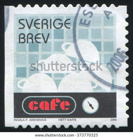 RUSSIA KALININGRAD, 14 SEPTEMBER 2013: stamp printed by Sweden, shows Coffee cups stacked on coffeemaker, circa 2006 - stock photo