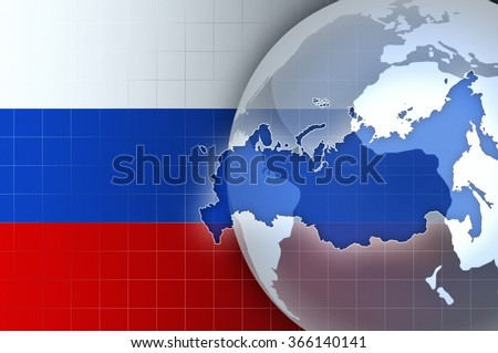 Russia Map and Flag on a world globe news background illustration - stock photo