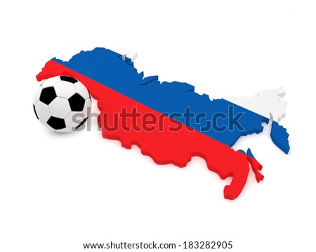 Russia Map with Soccer Ball - stock photo