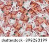 Russia money roubles banknotes, heap of russian rubles, currency background - stock photo