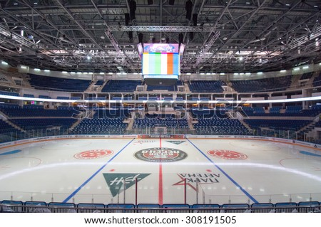 RUSSIA, MOSCOW - APRIL 27, 2015: Ice Palace VTB Moscow just before hockey game CSKA vs SKA teams on Hockey Cup of Legends in Ice Palace VTB, Moscow, Russia - stock photo