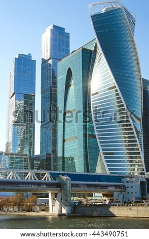 RUSSIA, MOSCOW - APRIL 26 - 2016: Modern skyscrapers in Moscow city downtown