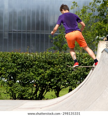 Russia, Moscow - Gorky Park, 16 July 2015, skateboard people