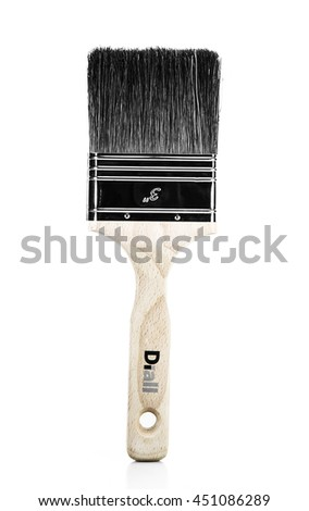 RUSSIA,MOSCOW-July 12,2016-Paint brushes Diall with wooden handle on a white background. Diall russian company produces equipment and tools for working wood and metal