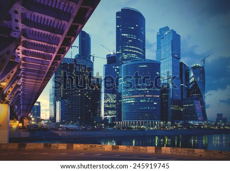 RUSSIA. MOSCOW - June 8 2014: International Business Center Moscow-City area is currently under development, instagram image style