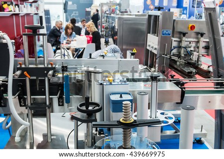 "RUSSIA, MOSCOW - 14 June 2016: production and product companies at the exhibition ""RosUpack"" at Crocus Expo. Exhibition held in Moscow. International Exhibition. - stock photo"